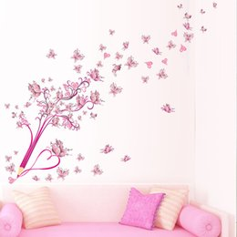 Wholesale Self Adhesive Flower Large - 3D PVC diy Pink flowers butterfly and pencil wall stickers home decor for living room bedroom Vinyl poster Christmas gift