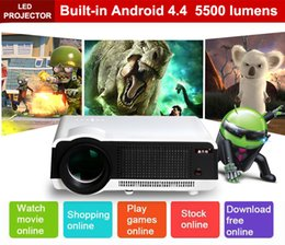 Wholesale New Lcd 3d Hd - New LED86 wifi led projector Android 4.4.2 HD LED 3D Smart Projector 5500 lumens 1080p HDMI Video Multi screen Home Cinema