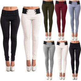 Wholesale Panel Leggings - Free Shipping 2017 New Fashion Women Casual Stretch Polyester Skinny Leggings Pencil Pants Slim Trousers New Plus Size CL157