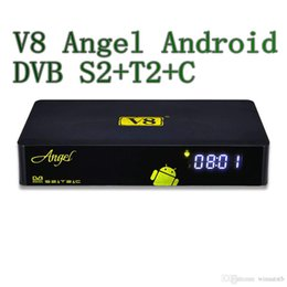 Wholesale Set Top Box Tv Tuner - Freeshipping BT4.0 Freesat V8 angel satellite receiver cccam support android 4.0 dvb s2&t2&Cable set top box