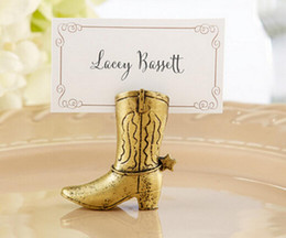 Wholesale names baby - 20pcs Gold High Boots Name Number Menu Table Place Card Holder Clip Wedding Baby Shower Party Reception Favor