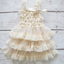 Wholesale Chiffon Wedding Dress Layers - Flower Girls Dresses Kids Fluffy 3 Layer Princess Lace Party Dress Sleeveless Wedding Pageant Party Children Clothes
