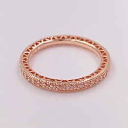 Wholesale 14k Gold Rings Wholesale - Rose Gold Plated & 925 Sterling Silver Ring Hearts Of Brand European Pandora Style Jewelry Charm Ring Gift 180963CZ