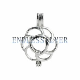 Disegni di pendente dei monili online-Wishing Pearl Cage Pendant 925 Sterling Silver Jewellery Flower Design Openable Pendant Mounting per Pearl Party