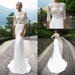 Wholesale Custom Casual Long Dresses - 2018 Casual Two Pieces Lace Wedding Dresses With Half Sleeves Mermaid Bateau Neck Trumpet Bridal Gowns Court Train