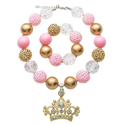 Wholesale Kids Rhinestone Pendants - Kids jewelry sets girls colorful rhinestone crown pendant chunky necklace+pink bead bracelet 2pcs Christmas children gift R0376