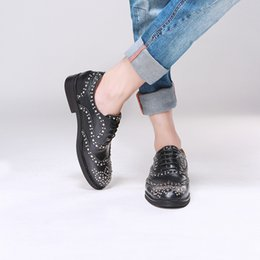 Wholesale Oxford Brogue Shoes - 2017 Round toe cow leather new mens shoes casual oxfords Black Genuine Leather Studded Rivets Full Brogues Flats