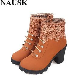 Wholesale Leather Platform Zip Ankle Boots - Wholesale-2015 Fashion Women Boots PU Leather Round Toe Ankle Boots Sexy Lace Ladies High Heels Platform Shoes Woman Size 35-40