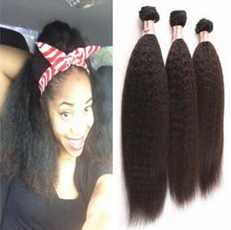 Wholesale Wholesale Remy Yaki Hair - Top Grade Afro Kinky Straight Remy Hair Extensions Weaving Black Women Brazilian Weave Italian Coarse Yaki 300g bundle free shipping
