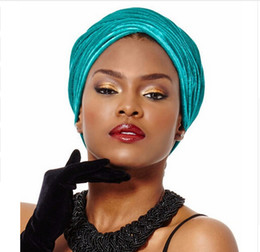Wholesale Tie Dye Hijab - NEW women Luxury pleated velvet Turban hijab Head Wrap Extra Long tube indian Headwrap Scarf Tie