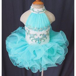 Wholesale Sky Blue Pageant Dress Child - Pageant Dresses For Girls Light Sky Blue Organza Puffy Ball Gown Ruffled First Communion Gowns For Toddler Little Child Baby