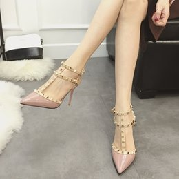 Wholesale Bands Nail Fine - Female high heels sandals fine with summer rivet pointed word buckle thin women's sandals patent leather Liu nail small pepper nude color sh