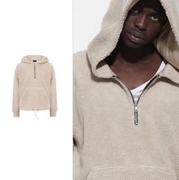 Wholesale Sheep Hoodie - FOG FEAR OF GOD hooded OVERSIZE Sheep velvet Hooded sets of sweater Sherpa Zip Hoodie JIUSTIN BIEBER