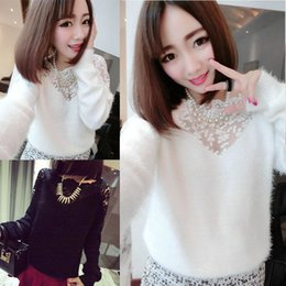 Wholesale Sweaters Lace Bottom - Wholesale-New 2016 Fashion Women Knitted Pullover Wool Lace Long Sleeve Bottoming Sweaters Shirts Spring Autumn Hollow Out Sweater Tops