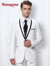 Wholesale Korean Wedding Suits For Men - Wholesale- Korean Men Floral Suits White Suits For Men Mens White Suit Men's Two-Piece Side-Vent Modern-Fit Wedding Party Suit D288