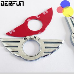 Wholesale Mini Door Stickers - Car Styling Insignia Emblem Wings Stickers Decoration Accessories For BMW Mini Cooper R55 R56 R57 R58 R59 Door Lock Knobs