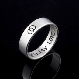 """Wholesale Stainless Steel Infinity Ring - Wholesale 10Pcs lot 2017 New Promotion Fashion Silver Rings Stainless Steel Jewelry Inside Surface Engraved """"Infinity Love"""" Wedding Rings"""