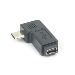 câble mini usb de type b Promotion Vente en gros - 1 Pcs Mini USB Type B femelle à Micro USB mâle 90 degrés Adaptateur Angle Gauche