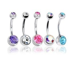 Wholesale Mixed Body Piercing Jewelry Wholesale - 5Pc Lot 14G Unisex Women Men Mix Body Jewelry Piercing Crystal Double Gem Belly Bar Button Ring