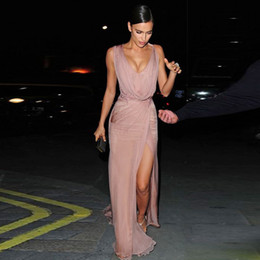 Wholesale Celebrity Dresses Vintage - 2017 Irina Shayk Celebrity Dresses Sexy Red Carpet Evening Dresses A-Line Chiffon Deep V-Neck Long Prom Party Gowns Side Split