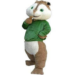 Wholesale Squirrel Mascot Adult Costume - Squirrel Mascot Costume Green Clothes Fancy Party Dress Halloween Carnival Costumes Adult Size High Quality free shipping