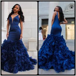 Wholesale Soft V Neck - 2017 African Tiered Organza Royal Blue Prom Dresses Plunging V Neck Backless Soft Satin Evening Party Black Grils Prom Dress