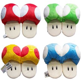 Wholesale Mushroom Slippers - Wholesale- 11'' 28 cm Anime Slippers Catton Game Super Mario Bros Shoes Warm Blue Red The Mushroom Soft Plush Indoor Slippers Stuffed Toy