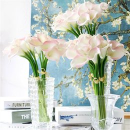 Wholesale Latex Flower For Wedding Decorations - 30pcs lot Real Touch PU Calla Lily Decorative Artificial Flowers Bouquet For WeddingParty Home Decoration Latex Fake Flower