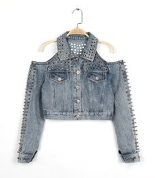 Wholesale Rivets Jean Short - Wholesale- WHJ010 Women Denim jackets Punk Rock Club coats heavy metal rivets jackets sexy Strapless coats women jean coats