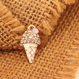 Wholesale Enamel Ice Cream Charms - Free Shipping 10pcs 11*21mm Gold Plated Enamel Tasty Rhinestone Ice Cream Oil Drop Charm Pendant For Bracelet Necklace DIY Jewelry Makings