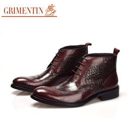 Wholesale Top Grade Men Shoes - Wholesale- GRIMENTIN brand winter fashion mens ankle boots genuine leather top grade serpentine style mens shoes for business office bo931
