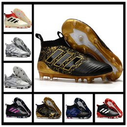 Wholesale Black Leather Tango Shoes - New Mens Football Boots ACE 17 PureControl FG Predator Mania Soccer Shoes X 16 PureChaos Soccer Cleats 17.1 Tango Messi Pureagility