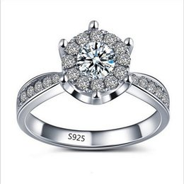 Wholesale Silver Diamond Rings Cheap - Cheap Wholesale Platinum Plating 925 Silver for Women Inlay zircon High Imitation Diamond Wedding Party Ring Size 6 7 8 9