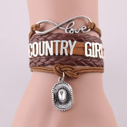 Wholesale Roping Hats - Wholesale-infinity love country girl bracelet cowboy hat charm rope leather wrap bracelets & bangles for women men jewelry drop shipping