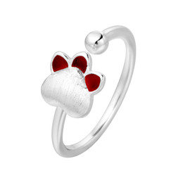 Wholesale Lucky Ring Red - 5pcs lot Real Pure 925 Sterling Silver Red Enamel Puppy Dog Paw & Lucky Bead Rings for Women Jewelry Adjustable Ring