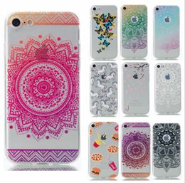 Wholesale Tribal Silicone Iphone Case - Smart Phone Cases for Apple iPhone6 6s 7 7plus HENNA DREAM CATCHER Ethnic Tribal datura Flowers Painted soft TPU Silicone Cover 50pcs