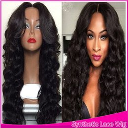 Wholesale Cheap Long Synthetic Wigs - Synthetic Lace Front Wig Long Body Wave Beauty Synthetic Cheap Wavy Wig Lace Front Black Hair Middle Part Style For Black Women