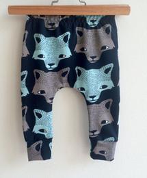 leggings para niños 5t Rebajas Niños INS pp pantalones moda 2017 bebé niños pequeños niño de niña zorro lobo figura pantalones pantalones Leggings B