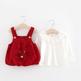 Wholesale Suspender Skirts Sets - Baby Girls Suspender Dresses Sets Cute Cat Short Skirt White Long Sleeve Shirt 2pcs Suit Spring Kids Clothes Free DHL 64