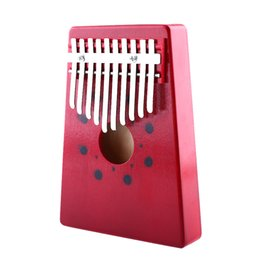 Wholesale Composite Instruments - Wholesale- Red 10Keys Kalimba Mbira Thumb Piano traditional Musical Instrument Portable Thumb piano Keyboard Instruments