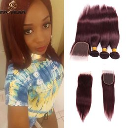 Wholesale Cheap Red Human Hair Extensions - cheap wholesale Brazilian burgundy human hair bundles with closure lace front wine red straight weaves closure with bundles hair extension
