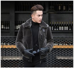 Wholesale Slim Sheepskin Long Coat - Men's Genuine Shearling Sheepskin jacket Winter Natural Merino Sheep Fur Coat outerwear