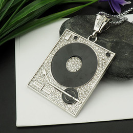 Wholesale Number 25 Charms - crystal record player pendant necklace hip hop gold or silver plated necklaces with chain jewelry for men or women item number 25