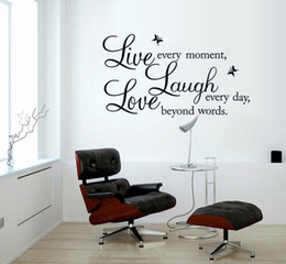 Wholesale Inspirational Vinyl Wall Decals - Removable live love laugh wall decals stickers DIY live laugh love vinyl wall art sticker inspirational words wallpaper home decor murals