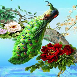 Wholesale Bedroom Kits - peacock peony Home Garden Flower Wall Paintings for Living Rooms Crystal Rhinestones Diy Diamond Painting Cross Stitch Kits
