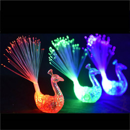 Wholesale Children Supplies Wholesale - Creative Peacock LED Finger Ring Lights Beams Party Nightclub Color Rings Optical Fiber Lamp Kids Children Halloween Party Supplies 3002055