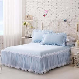 Wholesale Lace Cotton Twin Sheets - Wholesale-3-Pieces Solid Color Lace Luxury Bedding Sets King Size Queen Bed Sets Cotton Bed Sheet Set With an Elastic Band Pillow Case
