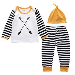 Wholesale 12 Arrows - Fashion Newborn Boy Clothes Set Boys 3 pieces. Arrow striped shirt Long pants + hats children's costumes Boys Clothing