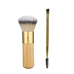 Wholesale Airbrushes Kit - 2pcs set Tarte Comestics makeup brushes set the buffer airbrush finish bamboo foundation Powder Double-ended make up brush kit