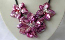 Wholesale Pearl Shell Strand - Shell Flower&FW Pearl Crystal Strand Necklace 17.5 inch Handmade